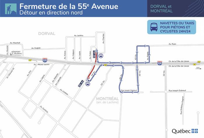 Fermeture de la 55e Avenue - Détour en direction nord (Groupe CNW/Ministère des Transports)