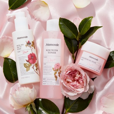 Mamonde's rose-infused trio with fresh-picked Damask roses – the Petal Spa Oil to Foam Cleanser ($21), Rose Water Toner ($23), and Rose Water Gel Cream ($26) – are available on Amazon Premium Beauty store.
