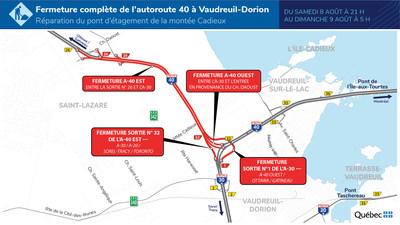 Entraves durant la nuit du 8 août 2020 dans le secteur de l'échangeur des autoroutes 30 et 40, à Vaudreuil-Dorion (Groupe CNW/Ministère des Transports)