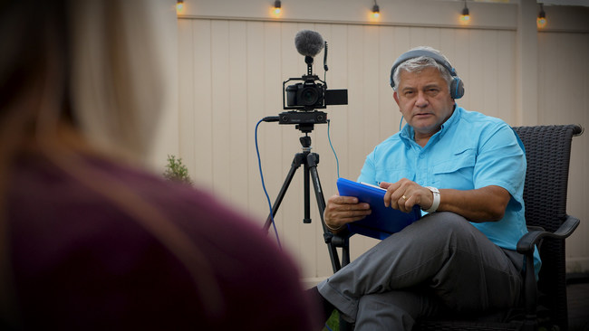 """CEO, Rick Porter shooting a recent """"Speak at Your Own Funeral"""" interview."""