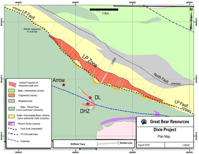 Figure 2: Location of drill sections provided as section figures in this release. (CNW Group/Great Bear Resources Ltd.)