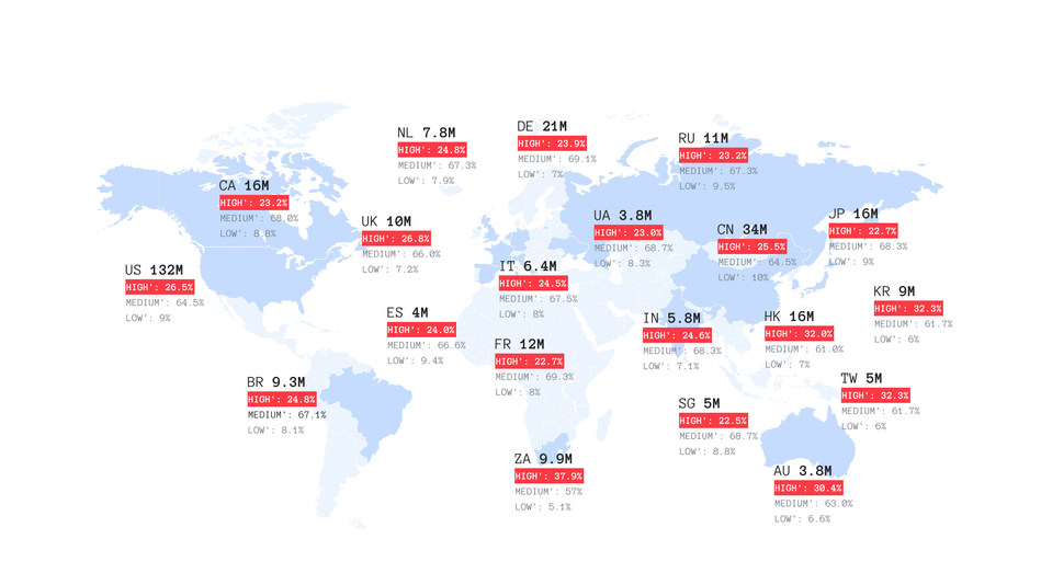 Map of the Most Vulnerable Countries to Cyber Attacks. Provided by Spyse.