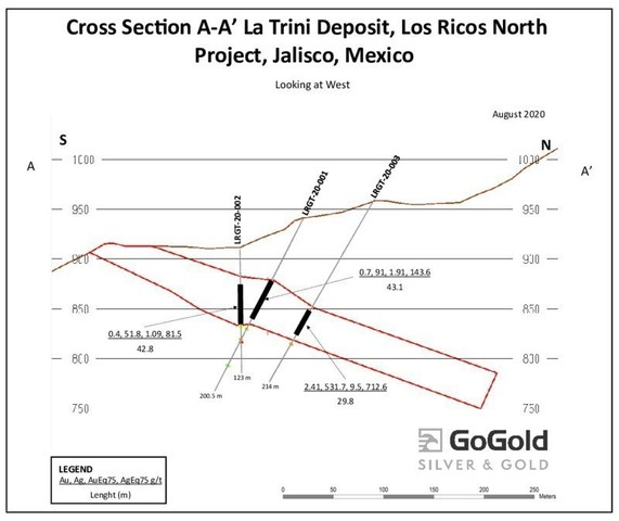 Cross Section of Drill Holes at La Trini Deposit, included in GoGold's Los Ricos North project (CNW Group/GoGold Resources Inc.)