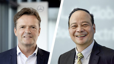 À esquerda: Markus Schäfer, membro do conselho de administração da Daimler AG e Mercedes-Benz AG; à direita: Dr. Robin Zeng, fundador, presidente e diretor executivo da CATL