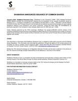 SHAMARAN ANNOUNCES ISSUANCE OF COMMON SHARES (CNW Group/ShaMaran Petroleum Corp.)