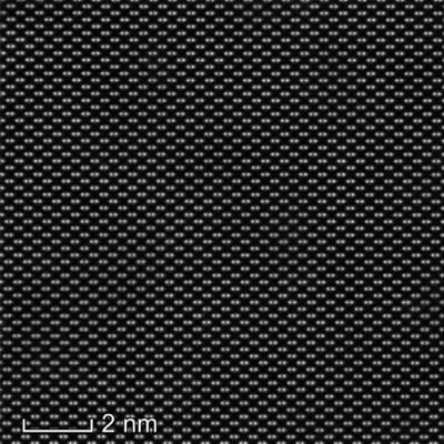 HR S/TEM image of a high-quality GaAs lamella prepared with the Helios Hydra UX DualBeam using Ar+ FIB for the final polishing