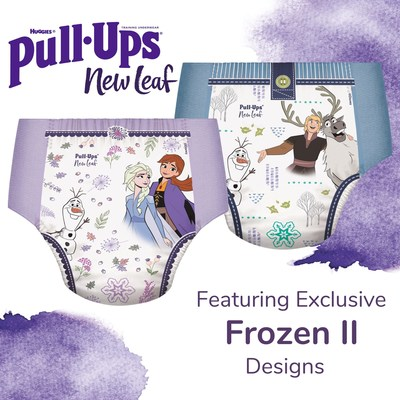 "Pull-Ups® introduces New Leaf™, a super soft training underwear with plant-based* ingredients featuring four exclusive designs from Disney's ""Frozen II"". Pull-Ups® New Leaf™ is now available at retailers nationwide."