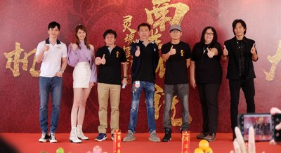 "The main crew of ""The Ferryman: Legends of Nanyang"". Lawrence Wong, lead actor of the drama and iQIYI International's first VIP member ambassador, is first from the left."