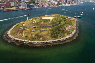 Aerial view of Georges Island National Historic Site in Halifax Harbour.  Photo credits: Tourism Nova Scotia (CNW Group/Parks Canada)