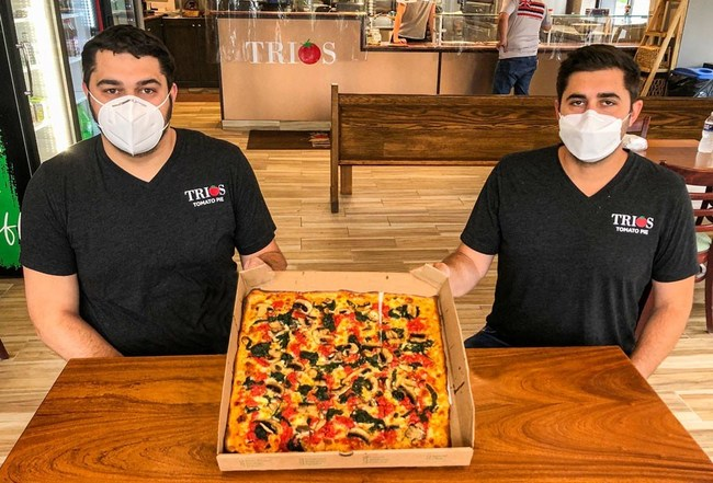"""N95 """"Pure-Masked"""" Brothers: Antonio (r) and Thomas Presta at their Trios Tomato Pie, Elkins Park, Montgomery County"""