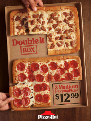 Pizza Hut introduces the all new value-packed Double It Box with not one, but TWO medium-sized, one-topping pizzas in ONE box for just $12.99. The Double it Boxserves up value that gives families everywhere an easy win for all those food feuds, solving the mealtime battle once and for all.