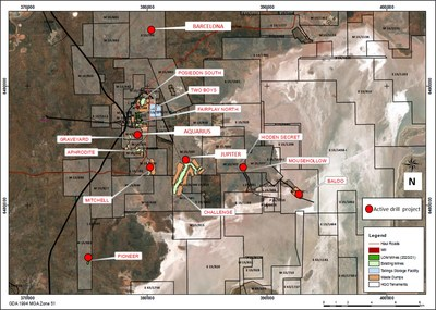 Figure 1: Plan view of active HGO mines and exploration projects (CNW Group/Karora Resources Inc.)