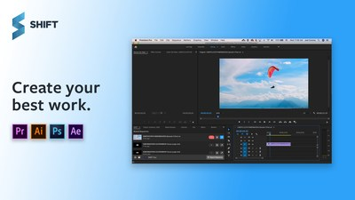 SHIFT Integrates with Adobe Creative Cloud, inlcuding Premiere Pro, After Effects, Photoshop, and Illustrator.