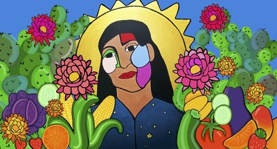 San Bernardino artist Belen Ledezma created a vibrant portrait for Blue Shield of California's Covid-19 education campaign that focuses on nutrition, food insecurity and the diversity and strength of the community.