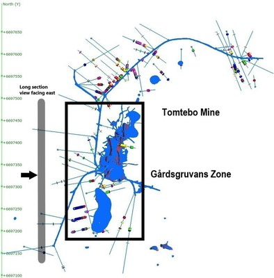 Figure 1: Plan View of Gårdsgruvans Zone at the Tomtebo Mine (CNW Group/District Metals Corp.)