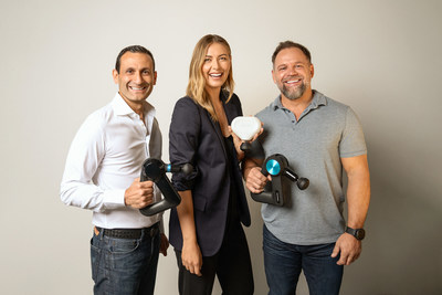 Benjamin Nazarian, CEO of Therabody, Maria Sharapova, and Dr. Jason Wersland, Founder and Chief Wellness Officer of Therabody.