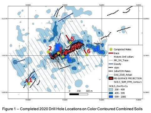 Figure 1 - Completed Drill Hole Locations on Color Contoured Combined Soils (CNW Group/Wolfden Resources Corporation)