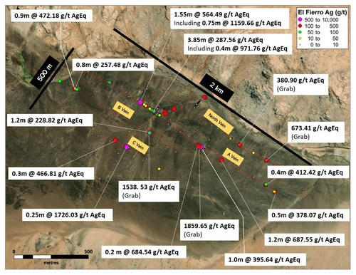 Figure 1. Significant results at El Fierro Bajo zone (CNW Group/Sable Resources Ltd.)