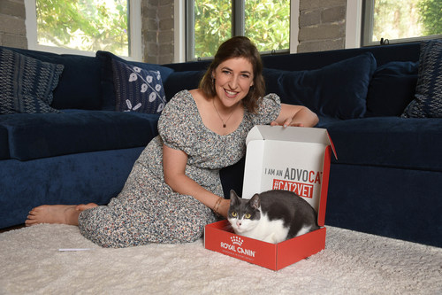 Actress and AdvoCAT Mayim Bialik, pictured with her cat Addie, joined Royal Canin's Take Your Cat to the Vet campaign to remind cat owners about the importance of regular vet check-ups. -PHOTO by: Joey Andrew/startraksphoto.com