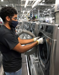 The millionth washer – a new ENERGY STAR® certified front-load model with smart features – rolled off the production line this week at the $360 million factory, believed to be the world's most advanced, integrated washing machine production plant.