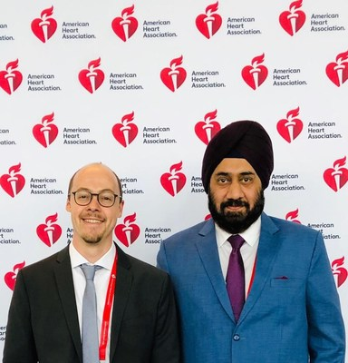 Dr Sebastian Kufner(left), who presented the 10-year data of ISAR Test-5 at the meeting of American Heart Association, Philadelphia last year along with Gurmit Singh Chugh, Co-Founder, Translumina