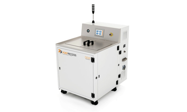 The PostProcess™ DEMI™ automated submersion system implements a blend of proprietary software, detergent, and the newly patented Submersed Vortex Cavitation (SVC) technology for effective support and resin removal.
