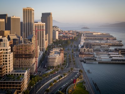 20-Story One Steuart Lane (Left Center) features unobstructed views of San Francisco's famed Embarcadero waterfront and Bay Bridge. Photo Credit: Scott Hargis