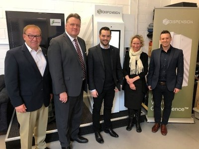 The Honourable Darrell Dexter, Dispension advisory board member; Mike Savage, Halifax Mayor; Corey Yantha, President /CEO Dispension; Wendy Luther, President /CEO Halifax Partnership and Matthew Michaelis, Chief Operating Officer, Dispension, at Dispension in Dartmouth, NS in March 2020. (CNW Group/Dispension Industries Inc.)