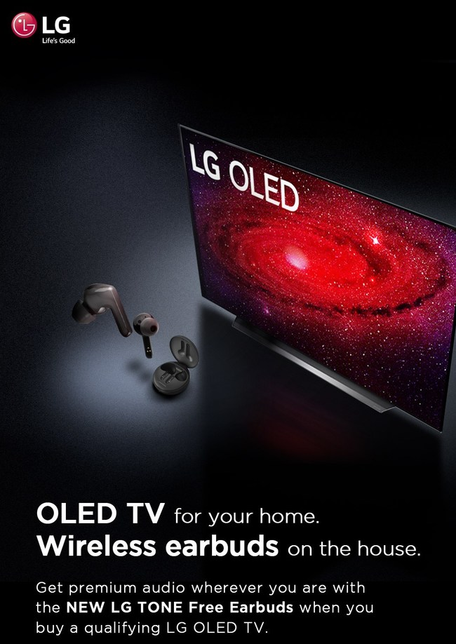 LG Electronics USA announced a limited-time promotion offering consumers a free pair of its recently-debuted LG TONE Free™ true wireless earbuds (model HBS-FN4, SRP $99.99) with the purchase of eligible 2020 LG OLED TVs.