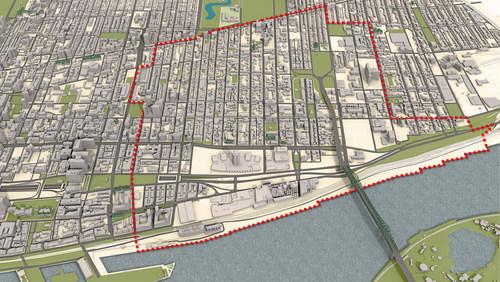 D'une superficie de 263 hectares, le territoire visé par le PPU est situé entre la rue Saint-Hubert à l'ouest, la rue Sherbrooke au nord et la rue Fullum à l'est. Il s'étend jusqu'au fleuve et comprend également les abords de la rue Notre-Dame, jusqu'à la rue du Havre. Au nord, on trouve le quartier Centre-Sud. Le sud du territoire représente la plus grande zone à requalifier du centre-ville, en raison notamment de la transformation du site de Radio-Canada et du départ de la brasserie Molson. (Groupe CNW/Office de consultation publique de Montréal)