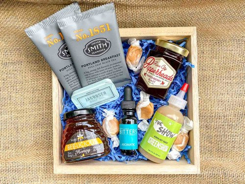 """Lost Plate Food Tours' """"Best of Portland Foodie Box"""" contains the best locally made products, from locally foraged sea salt to spicy hot sauce. Only $29 per box, including shipping."""