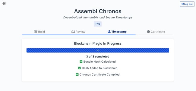 Assembl Chronos (assembl.app/chronos) in action. After building a timestamp (consisting of a title, a document description, and relevant files) the user submits a fingerprint of this data to the Stellar blockchain. In this screenshot, the app is in the process of writing this fingerprint (a SHA256 hash) to the blockchain. Once this timestamp is minted, it will live forever (even if Assembl, the company, ceases to exist).