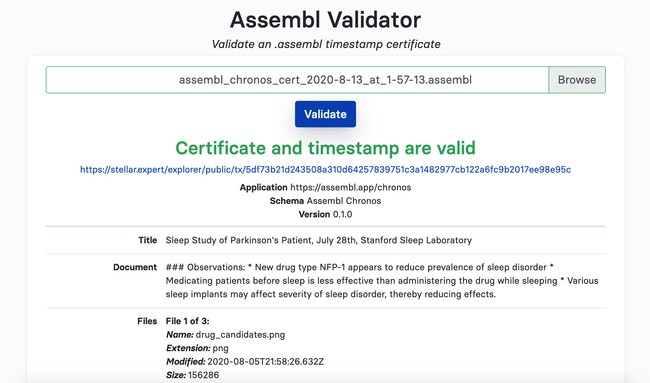 The Assembl Certificate Validator (assembl.app/validator), certifies that an Assembl timestamp is valid, by checking that it matches the blockchain record. Anyone can validate an Assembl Certificate, even without signing up. In this screenshot, a timestamp of sleep study findings minted by a scientist is confirmed to be valid.