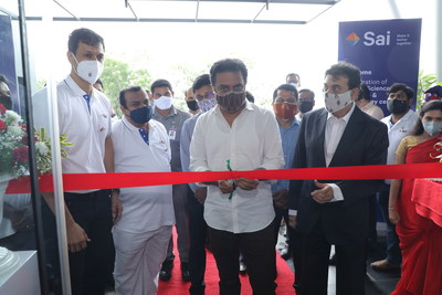 Inauguration of Sai Life Sciences' New Research & Technology Centre. Seen in the picture from left to right ? Krishna Kanumuri, CEO & MD Sai Life Sciences, Sri K T Rama Rao, Hon'ble Minister for IT, Industries, MA & UD and Jayesh Ranjan, Principal Secretary to Government Industries and Commerce