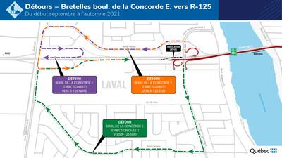 Réfection du pont Pie-IX - Détours pour les bretelles du boul. de la Concorde E. vers R-125 du début septembre à l'automne 2021 (Groupe CNW/Ministère des Transports)