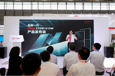 Jolywood's Niwa 615W topcon bifacial modules shine at Shanghai exhibition