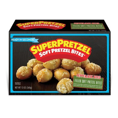 SUPERPRETZEL® Filled Soft Pretzel Bites are available in three top-selling cheese flavors – Mozzarella, Pepper Jack and Pub Cheese.