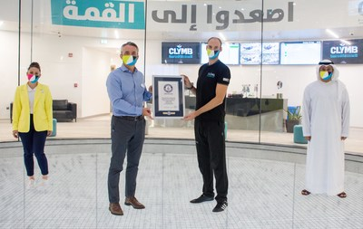 "CLYMB™ Abu Dhabi Awarded ""World's Largest Indoor Skydiving Wind Tunnel"" GUINNESS WORLD RECORDS™ title (PRNewsfoto/CLYMB™ Abu Dhabi)"