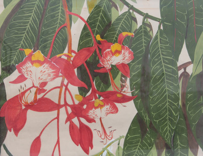 """Hibiscus""  Peggy Joubert, textile design 20 x 30 inches, 1940s. Joubert Ernst taught both at Pratt Art Institute and had her own Peggy Joubert Design company with her fabric designs appearing around the world. She was also a gifted painter producing paintings in watercolor and oil throughout her life and chronicling her travels."