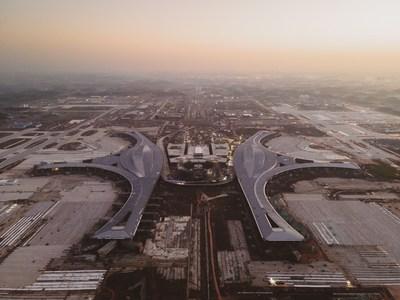 Aeroporto Internacional de Chengdu Tianfu em construção (PRNewsfoto/National Business Daily)