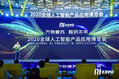 Foto tirada em 14 de agosto mostra a cerimônia de abertura da AIExpo 2020 (PRNewsfoto/Xinhua Silk Road Information Se)