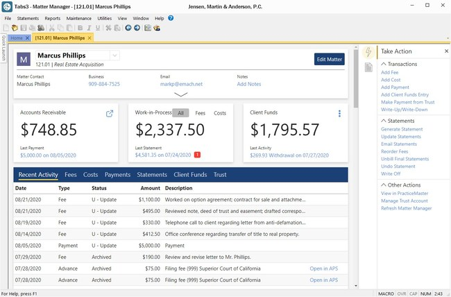 The new Matter Manager provides at-a-glance billing information on key metrics, such as accounts receivable, work-in-process, and trust balances.