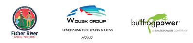 Fisher River Cree Nation, W Dusk Energy Group Inc. and Bullfrog Power logos (CNW Group/Bullfrog Power Inc.)