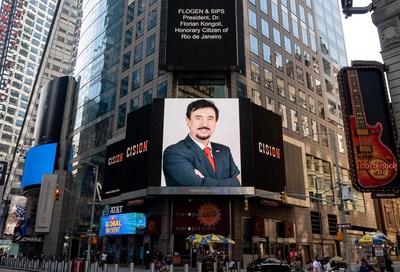 Dr. Florian Kongoli foi destaque no New York City Time Square nos dias 7, 10 e 11 de agosto de 2020, por ocasião de ser homenageado com o título de Cidadão Honorário do Rio de Janeiro (Grupo CNW / FLOGEN) (CNW Group/FLOGEN)