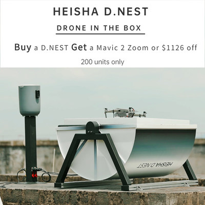 HEISHA's D.NEST, a truly automatic drone-in-the-box hardware platform, which is compatible with DJI drones, open-source project drones and vertical take-off and landing (VTOL) aircraft. HEISHA has inventory at present and is capable of mass production for standard products.