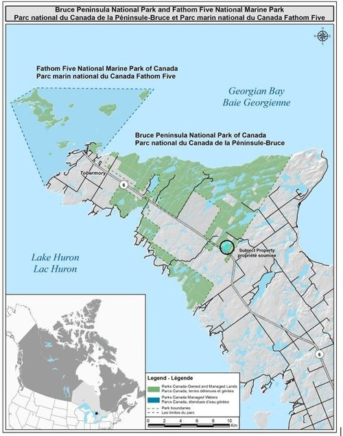Map of Bruce Peninsula National Park. Source : Parks Canada (CNW Group/Parks Canada)