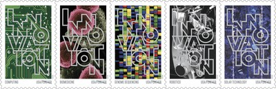 The new Innovation stamp designs represent computing, biomedicine, genome sequencing, robotics and solar technology.