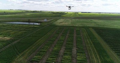 A University of Saskatchewan drone captures crop images at the university's plant research fields.  Photo credit: Seungbum Steve Ryu (CNW Group/Protein Industries Canada)