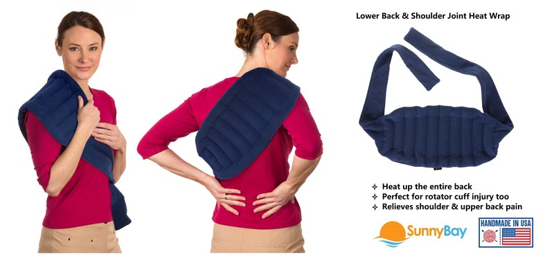 Sunny Bay Extra Large Heating Pad for Lower Back and Shoulder Joint with Straps, Heating Pad Lower Back, Microwave Hot Compress, Moist Heat Wrap, Shoulder Pain Wrap. FULL COVERAGE: Our Sunny Bay thermal neck wrap provides full coverage reaching even your hardest to reach neck, shoulder, and back pain. Our light weight and full coverage heat wrap provides a great option for anyone seeking pain relief. This product's large heating area is unmatched by any portable heating wraps.