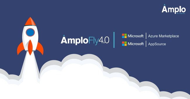 The AmploGlobal Rocket soaring to the sky, celebrating now being available in the Microsoft Azure Marketplace and AppSource. Includes logos for AmploFly4.0, Microsoft Azure Marketplace and Microsoft AppSource.
